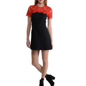 """Sandro """"Gigi"""" black/red lace mini dress 2 (US M)"""